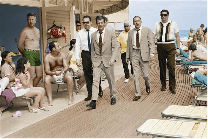 Frank Sinatra  Miami beach (colorized),1968 on the  boardwalk