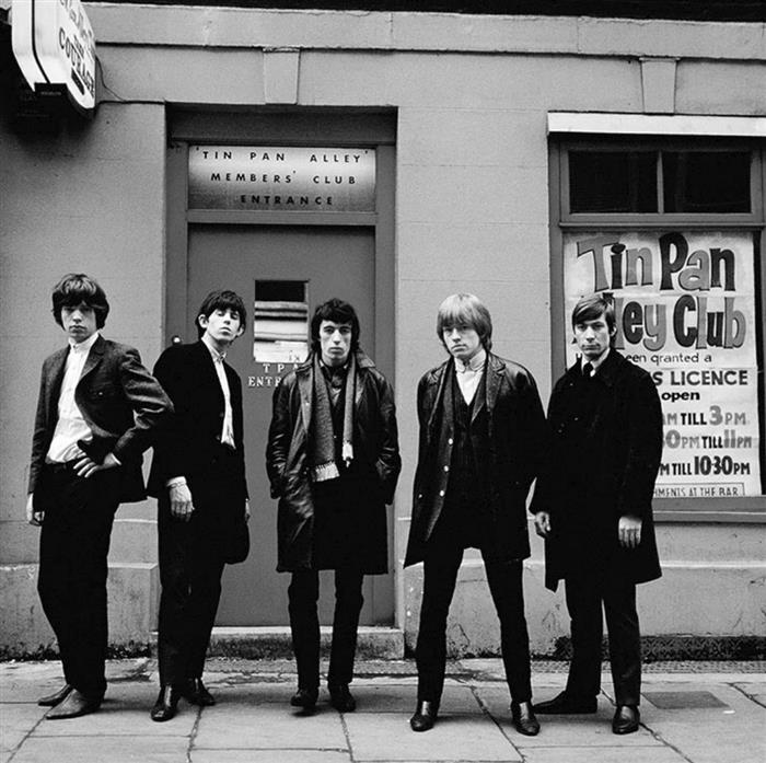 Rolling Stones outside Tin Pan Alley Club