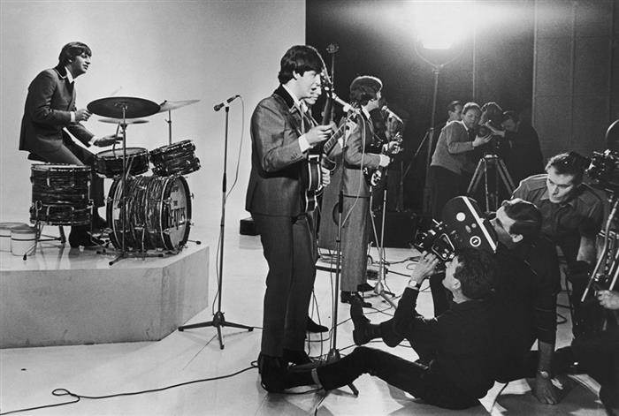The Beatles filming concert scenes for 'A Hards Day's Night '