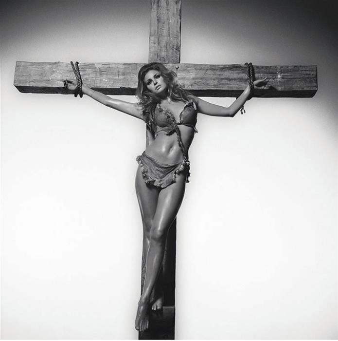 Raquel Welch on the cross 1966 by