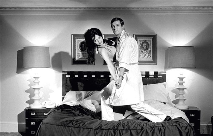 Roger Moore as James Bond with Madeline Smith 1973