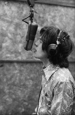Mick Jagger in the recording studio